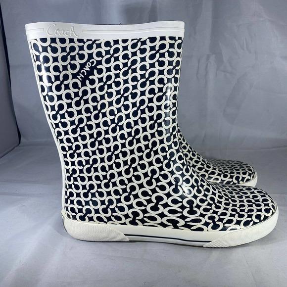 Coach Ursula Rubber Rain Boots Black White Logo